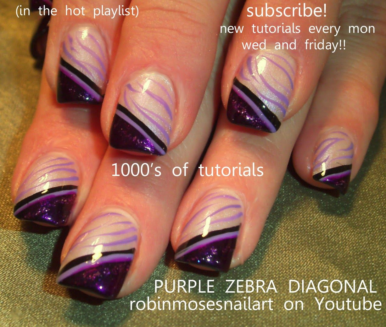 Nail Art By Robin Moses Blue And Silver How To Stripe Nails Striped Gold Studs