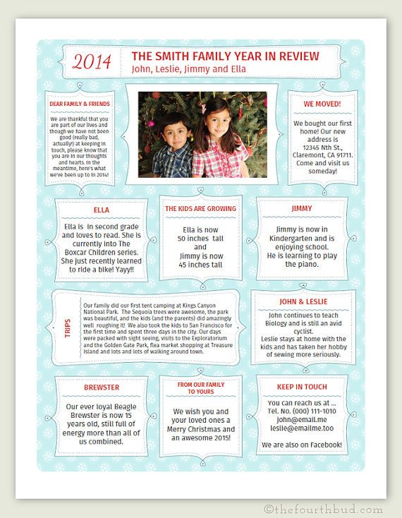 Year In Review  Christmas Newsletter Template In Pdf For Print