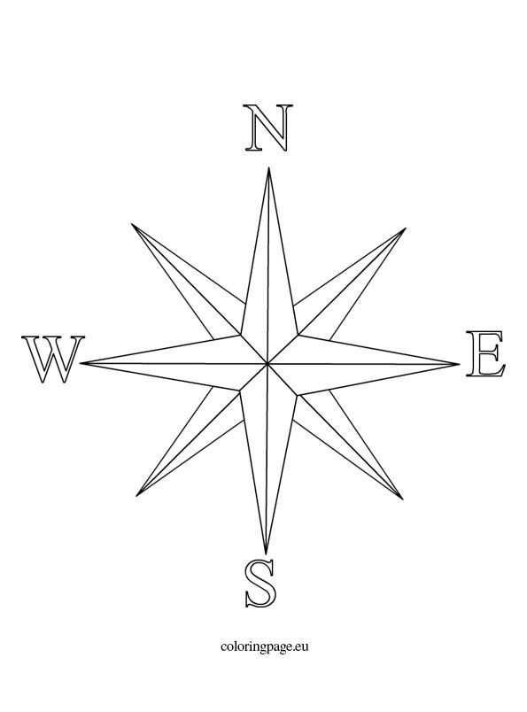 Wind Rose Coloring Page Wind Rose Rose Coloring Pages Compass Drawing