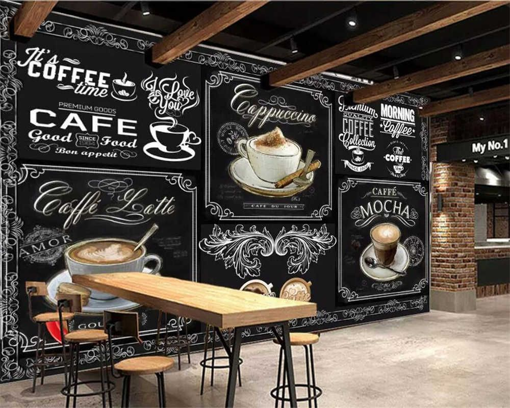 Beibehang Custom Wallpaper European And American Style Retro Hand Painted Blackboard Coffee Catering Background 3d Wallpaper Wallpapers Aliexpress Coffee Wall Decor Custom Wallpaper Coffee Shop Interior Design