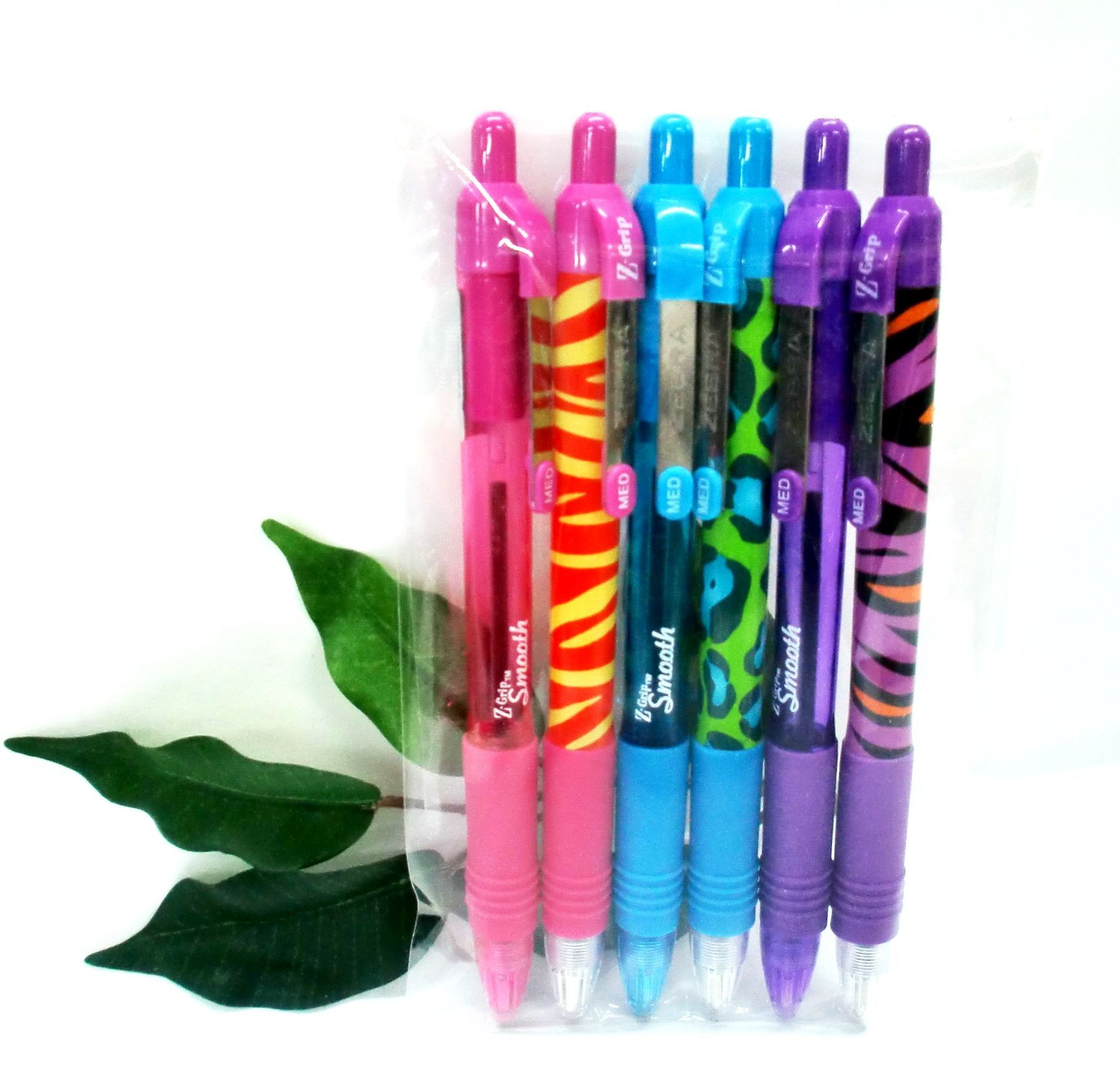 6 x Zebra Z-Grip Funky Brights Assorted Ink Animal Pattern Ballpoint Pens
