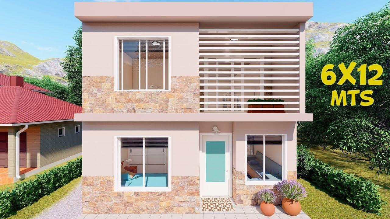 Plano De Casa De 6x12m 2 Pisos Croquis De Casas Pequenas Diseno De Casas Sencillas Casas De Dos Pisos