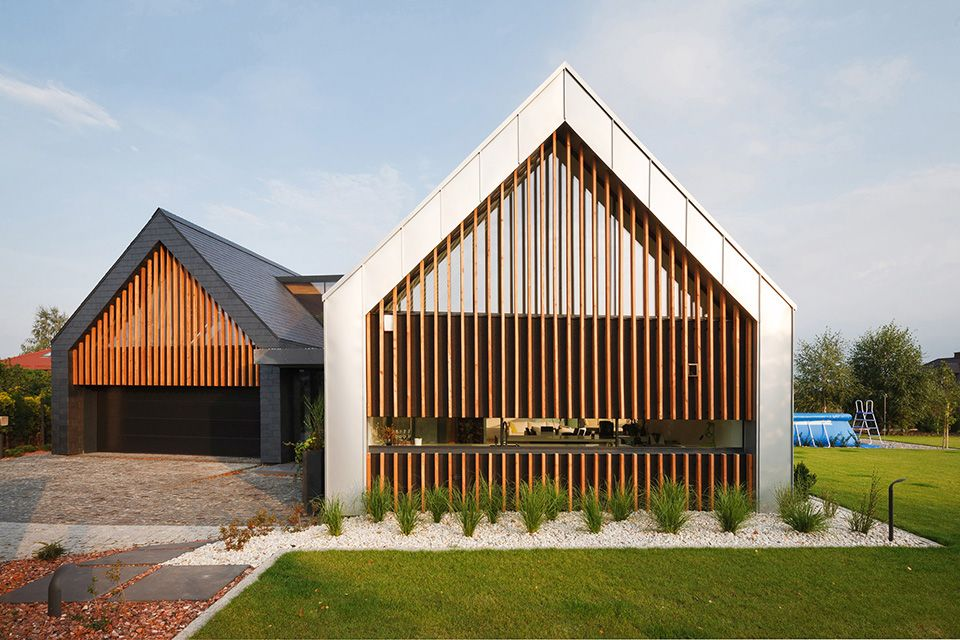 Two Barns Home With A Pitched Roof In Poland By Rsplus Modern Barn House Barn House Residential Architecture