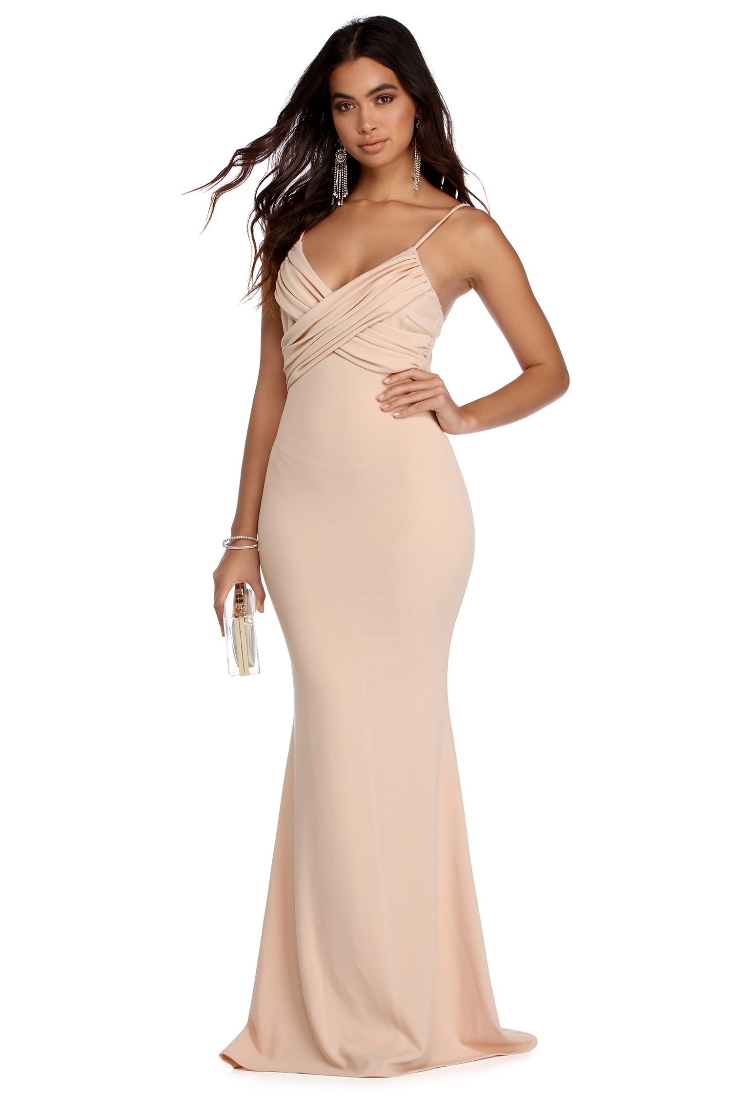 Elaine natural ruched formal dress womenus fashion pinterest