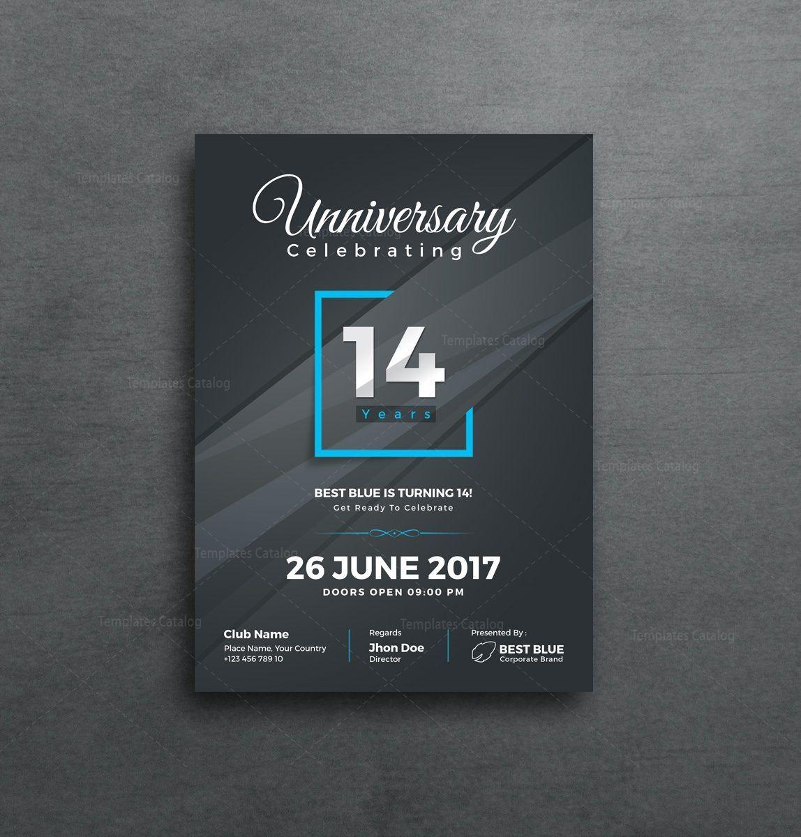 Artemis Stylish Anniversary Invitation Template 001129 With