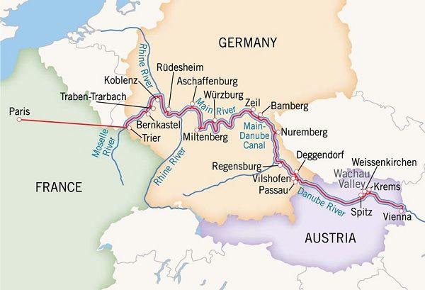Europe River Cruise Map