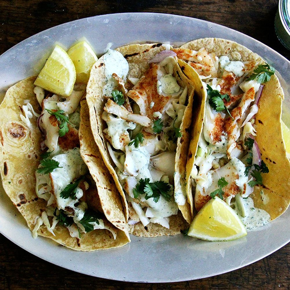 Skillet-Grilled Fish Tacos with Cilantro-Lime Crema ...