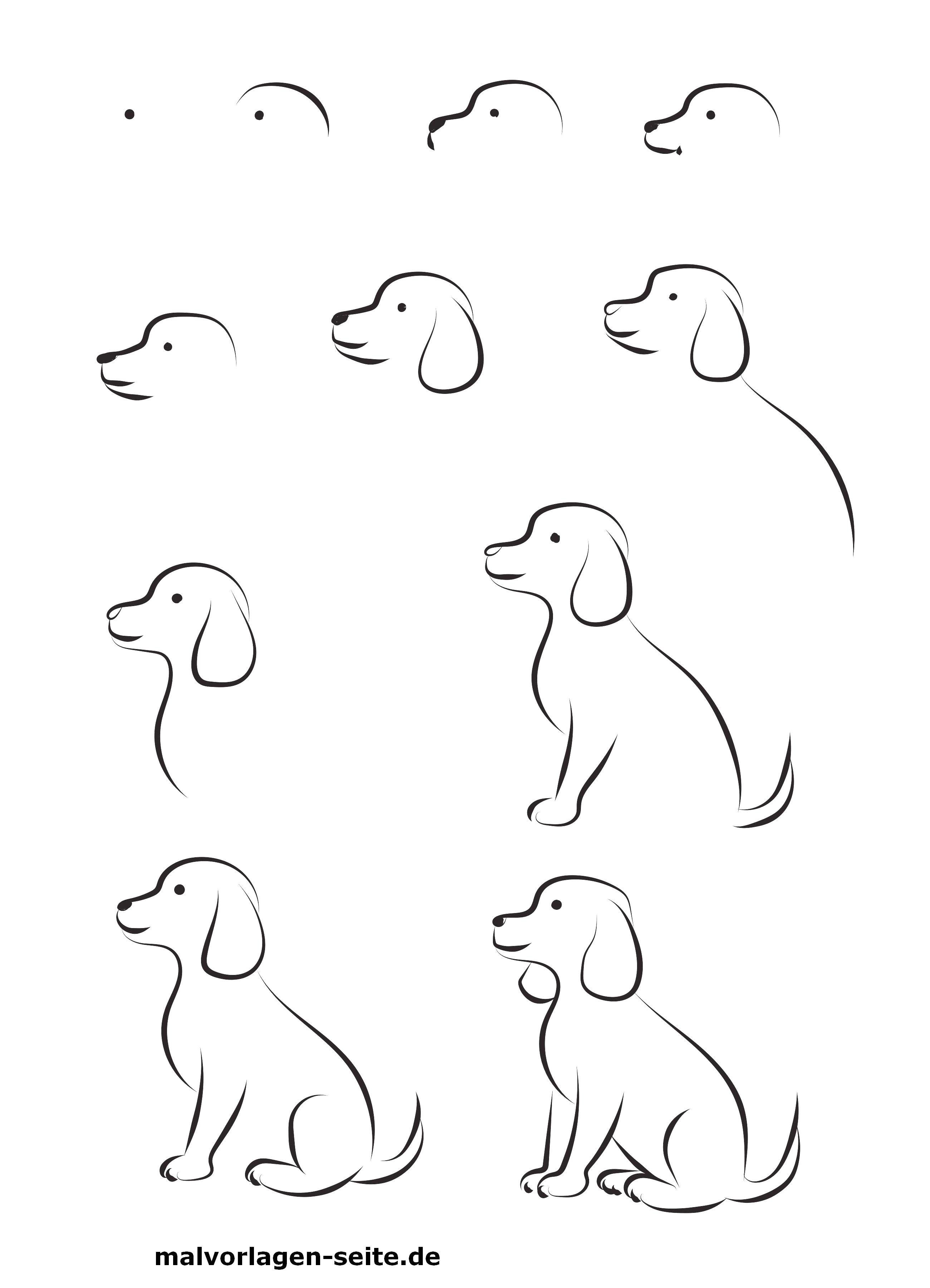 malen einfache motive  bilder malen einfach hund malen