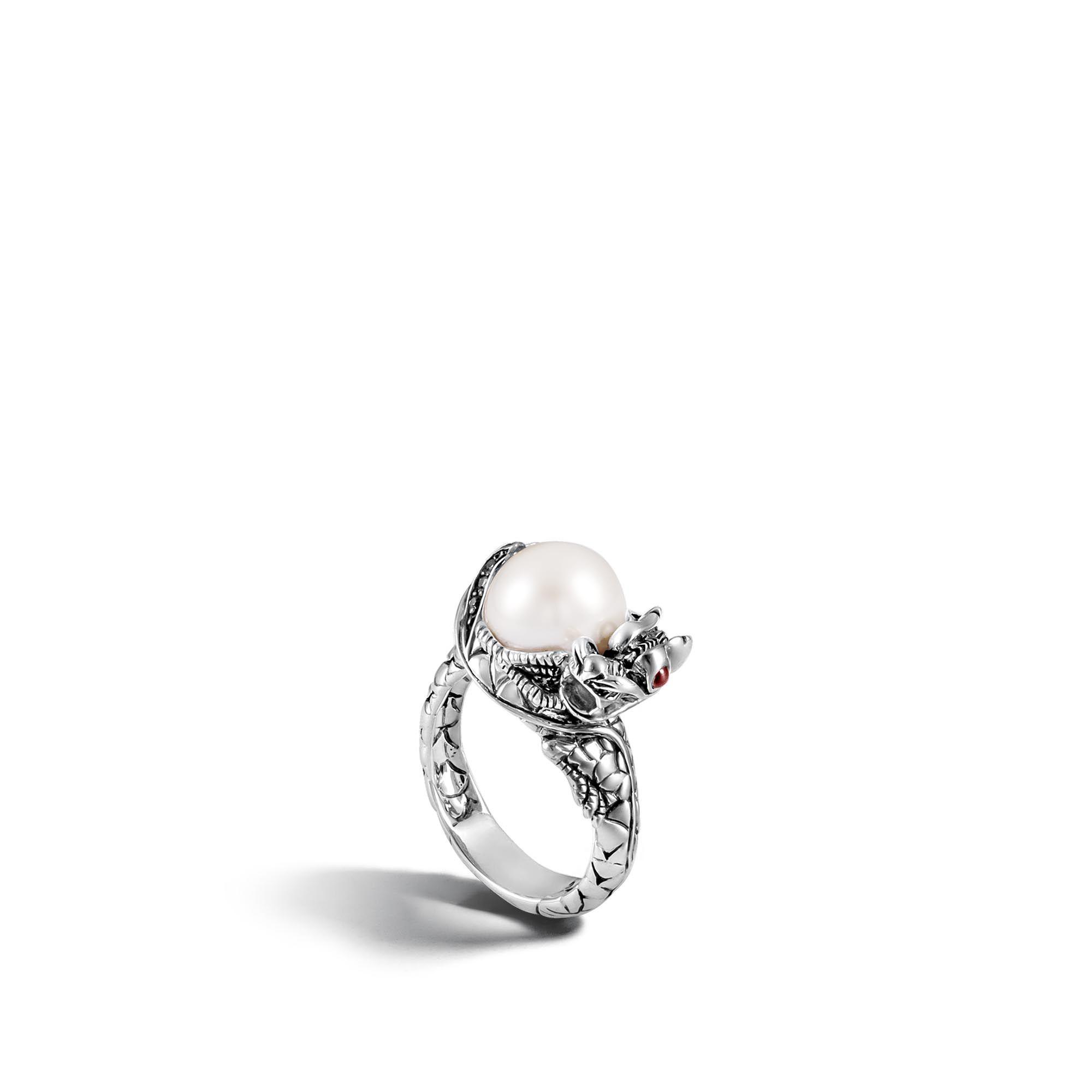 John Hardy Naga Silver Lava Small Dragon Ring with Freshwater Pearl QldJoihZ8n