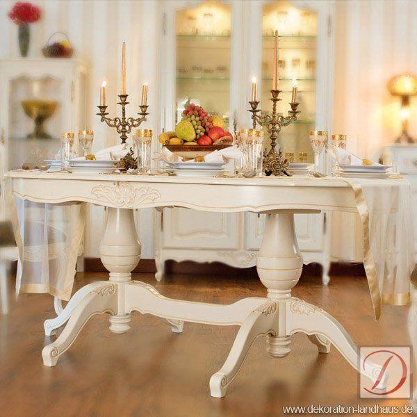 Tisch WIEN Weiß B180cm Ahorn Massivholz   Dieser Schöne Tisch Vereint  Massives Ahornholz Und Kunstvolle Handwerkstradition · Dekoration  LandhausMöbel ...