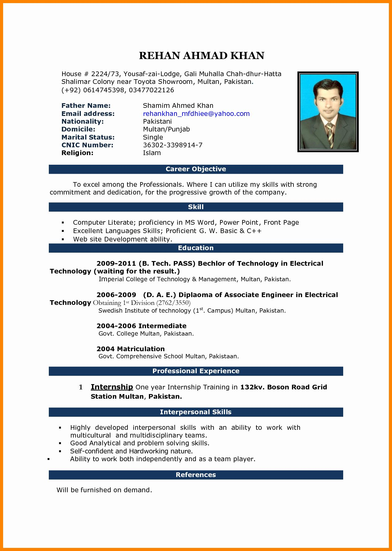Word Resume Template Free Download Office Templates Cv
