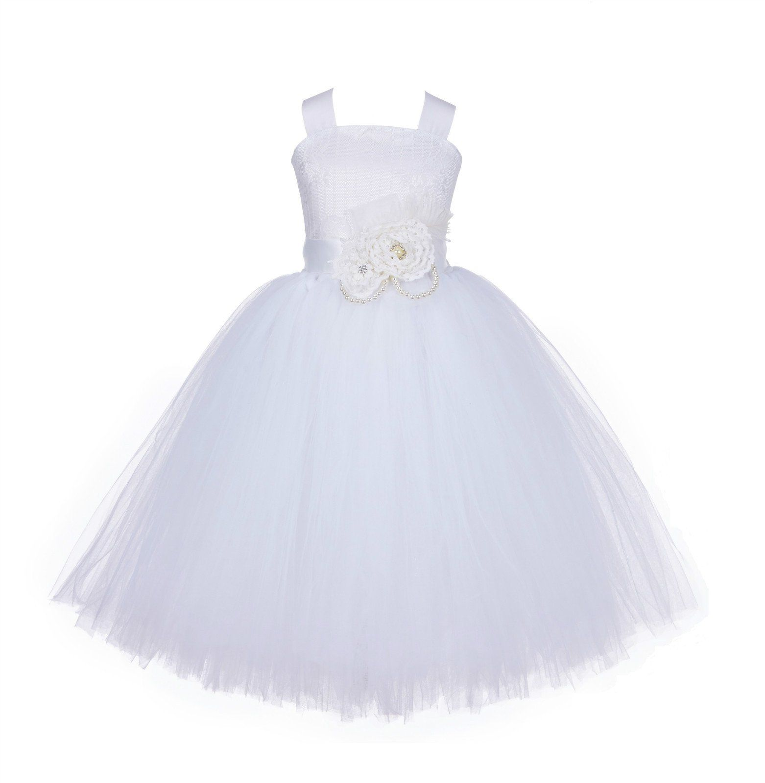 da89a92c0c96 Tutu Tulle Criss-Cross Back Lace Tulle Flower Girl Dress Wedding Pageant  Toddler Holiday Easter 119