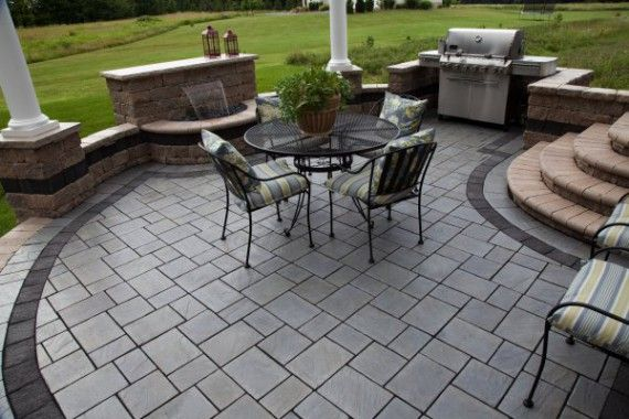 water feature and patio by unilock with richcliff paver | paver ... - Unilock Patio Designs