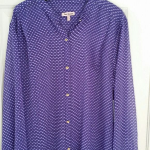 """NWT,  JUICY COUTURE  button up Top Sheer XL New Gold button up Top with long sleeves. Sheer Purple with tiny white boxes. Tunic length 30.5 """" from neck to bottom. The back is about 2 """" longer. XL. 100 % poly Tops Button Down Shirts"""
