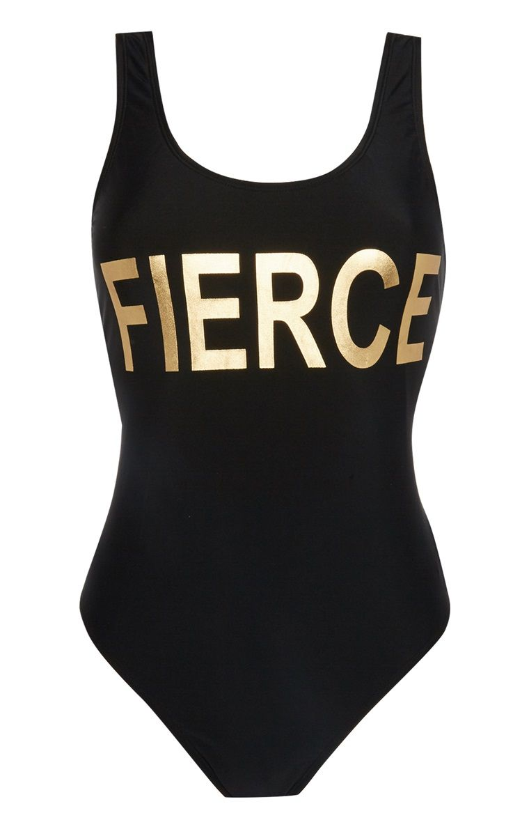 8289502f16538 Primark - Black Slogan Swimsuit