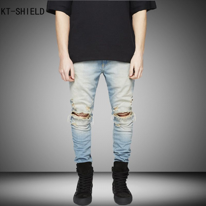c31e567220e New Ripped biker jeans Men With Holes Super Skinny jeans homme Famous  Designer Brand Slim Fit Destroyed Torn Jean Pants For Male #Affiliate