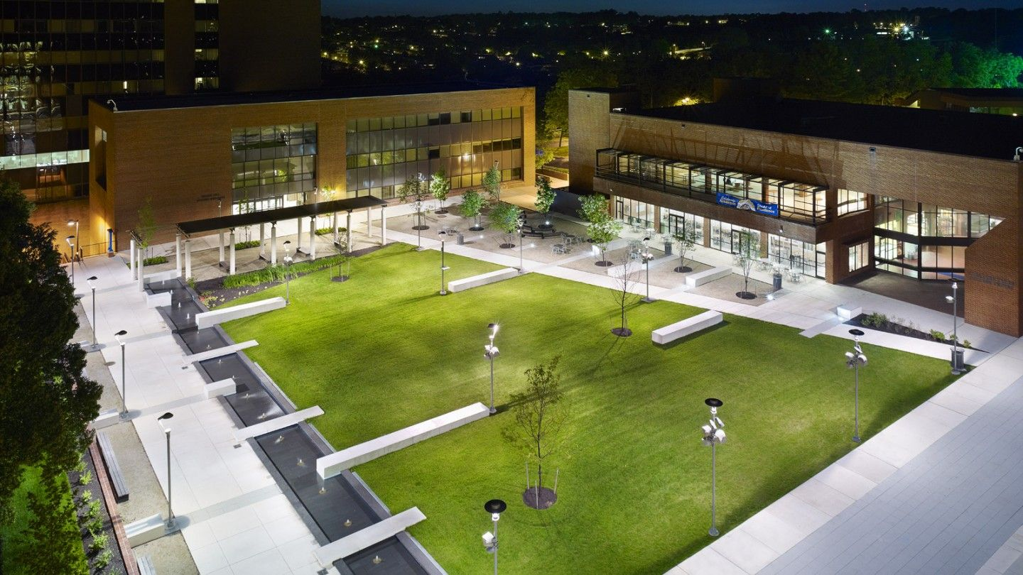 The revitalized quad at Coppin State carries through the main campus spine. reinforcing t… | Campus landscape architecture. Campus landscape ...