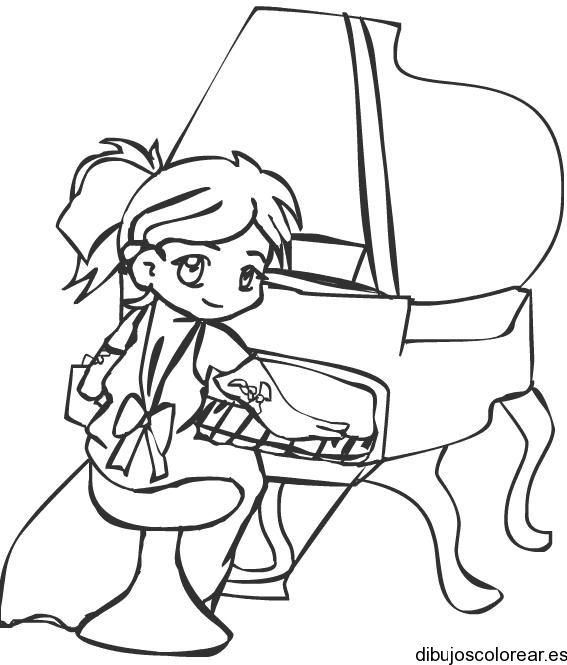 Dibujo De Niña Tocando Piano Dibujos Para Colorear Pinturas