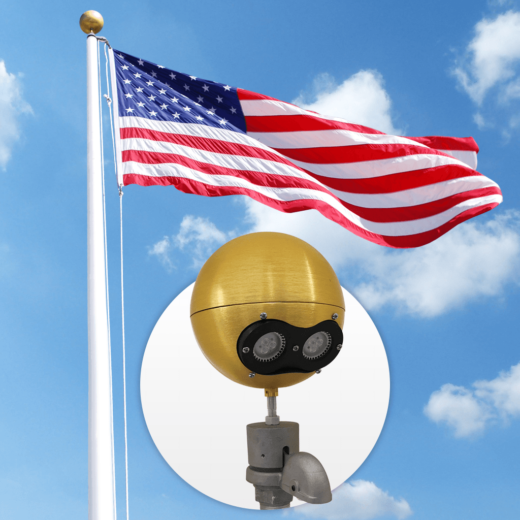 External Flagpole Beacon Gold 12v With Beacon Plus Light Pollution Night Time