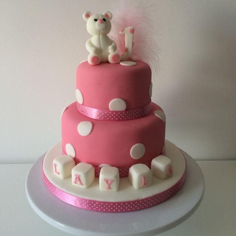 Pink Polka 1st Birthday Cake Birthday Cake Pinterest Birthday
