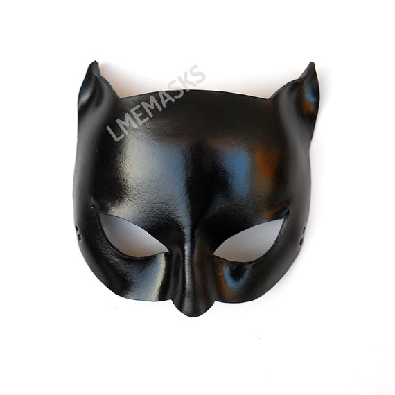 Glossy Black Catwoman Leather Mask Super Hero Sexy Masquerade Cat ...
