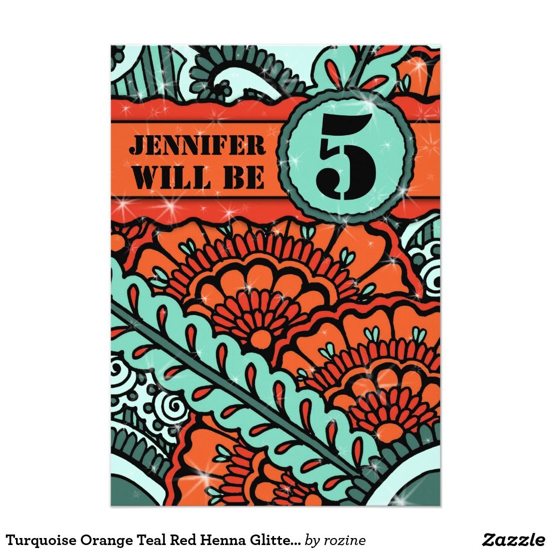 Turquoise Orange Teal Red Henna Glitter Birthday | Commercial Art by ...