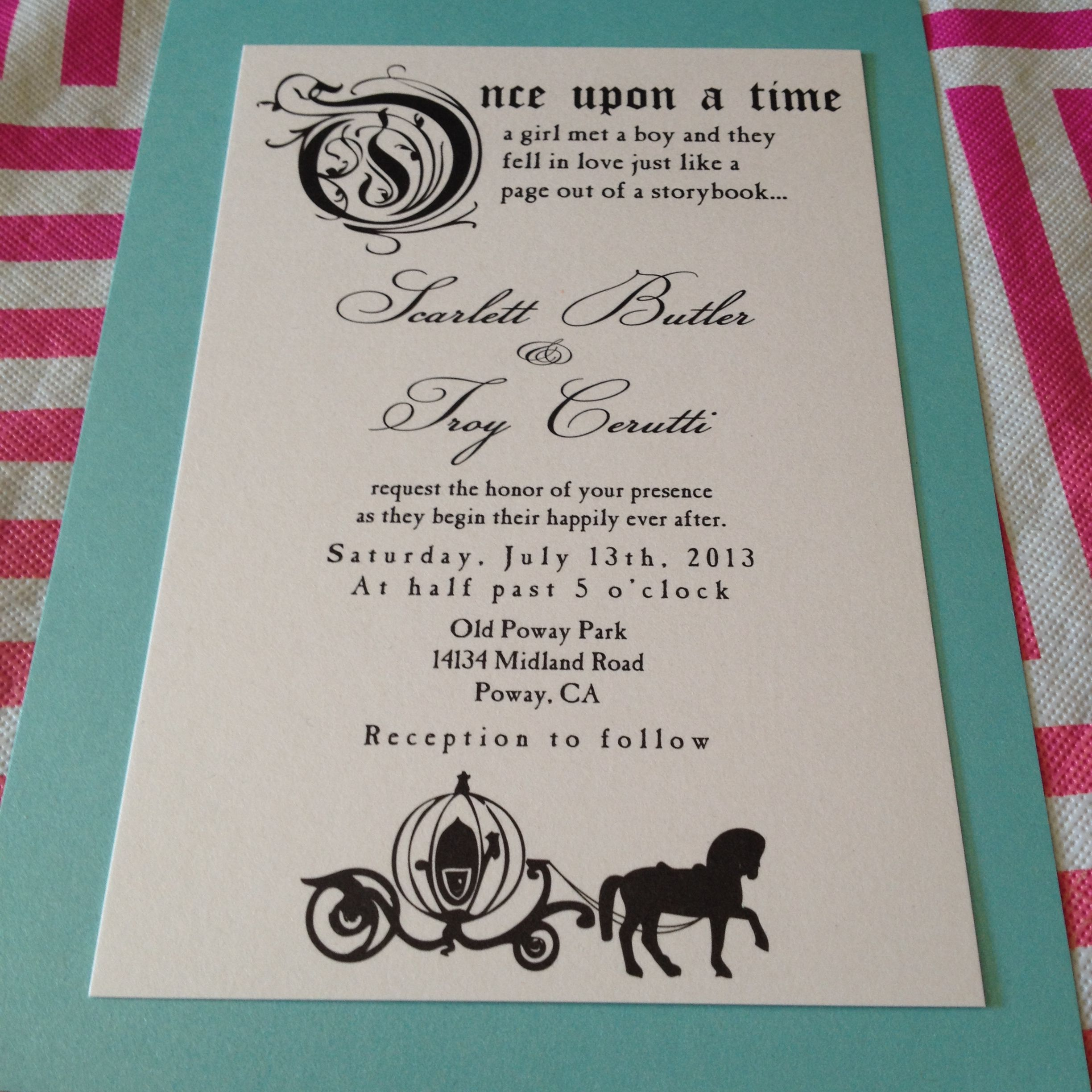 Fairytale Wedding Invitation. Once Upon A Time. Wedding