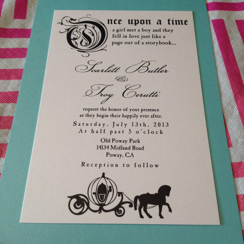 Fairytale Wedding Invitation. Once Upon a Time. Wedding