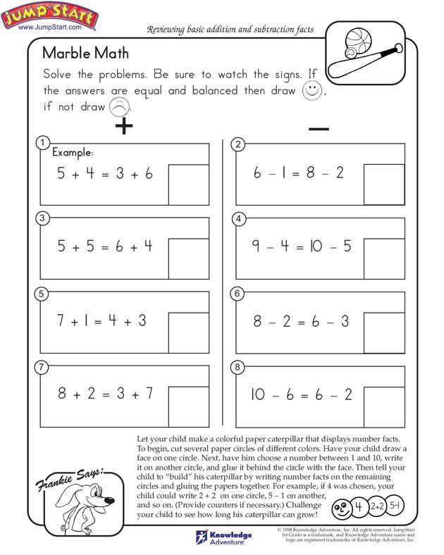 Marble Math Free Math Worksheet For Kids Jumpstart Math Worksheets Kids Math Worksheets Math