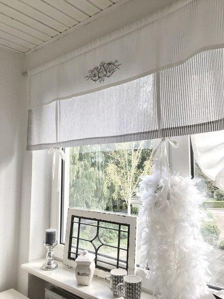 gardinen raffrollo gardine shabby gestreift grau o beige w ein designerst ck von. Black Bedroom Furniture Sets. Home Design Ideas