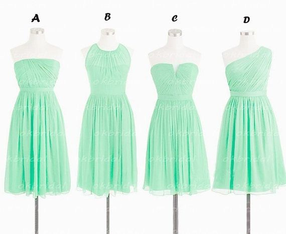 Mint Green Chiffon Ruched Short Bridesmaid Dresses Maid Of Honor Dress Maternity