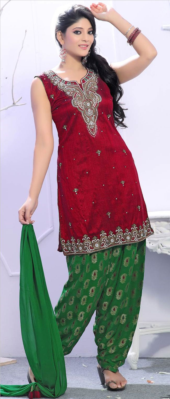 Red Art Raw #Silk A-line #Salwar Suit @ $182.53 | Punjabi Suits ...