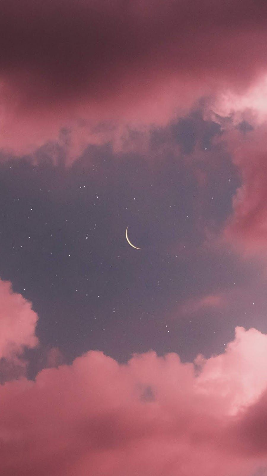 Crescent Moon In The Pink Sky Beautiful Wallpapers Backgrounds
