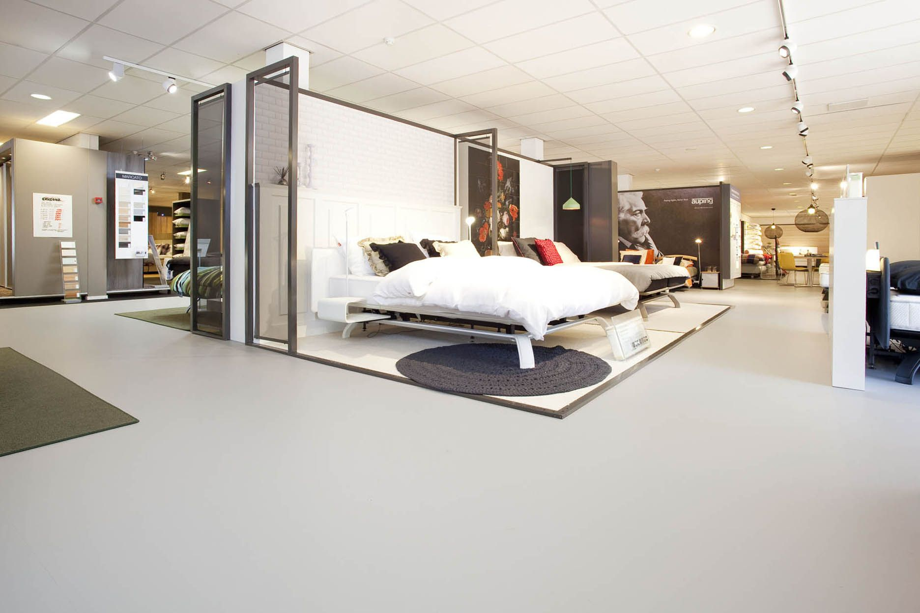 Auping store on the floor Marmoleum Walton 171 Forbo