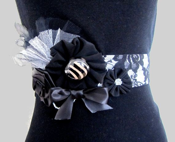 White sash belt with Black lace fabric and ribbon by DerekaGayle, £28.00