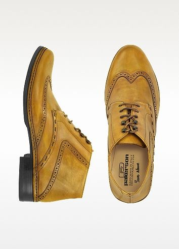 Pakerson Designer Shoes, Ocher Handmade Italian Leather Wingtip Ankle Boots
