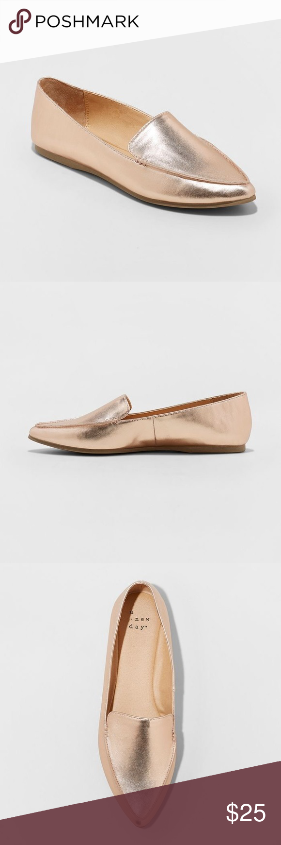 Micah Pointy Toe Loafers - Rose Gold-B1