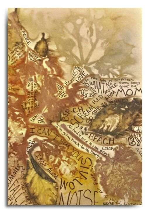 Eco Printed Watercolor Paper With Thoughts By Cherie Livni