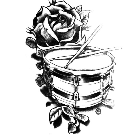Drum And Rose Black And White Tattoo Design Drum Tattoo Drummer Tattoo White Tattoo