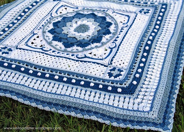 Ravelry: Around the Bases pattern by ChiChi Allen. Center square is the Crocodile Flower pattern by Joyce Lewis