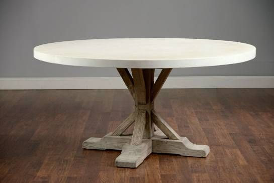 Round 48 Concrete And Elm Dining Table Mecox Gardens Dining