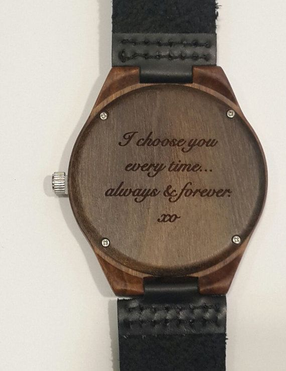 Engraved Wooden Watch Valentines Day Gift Personalized
