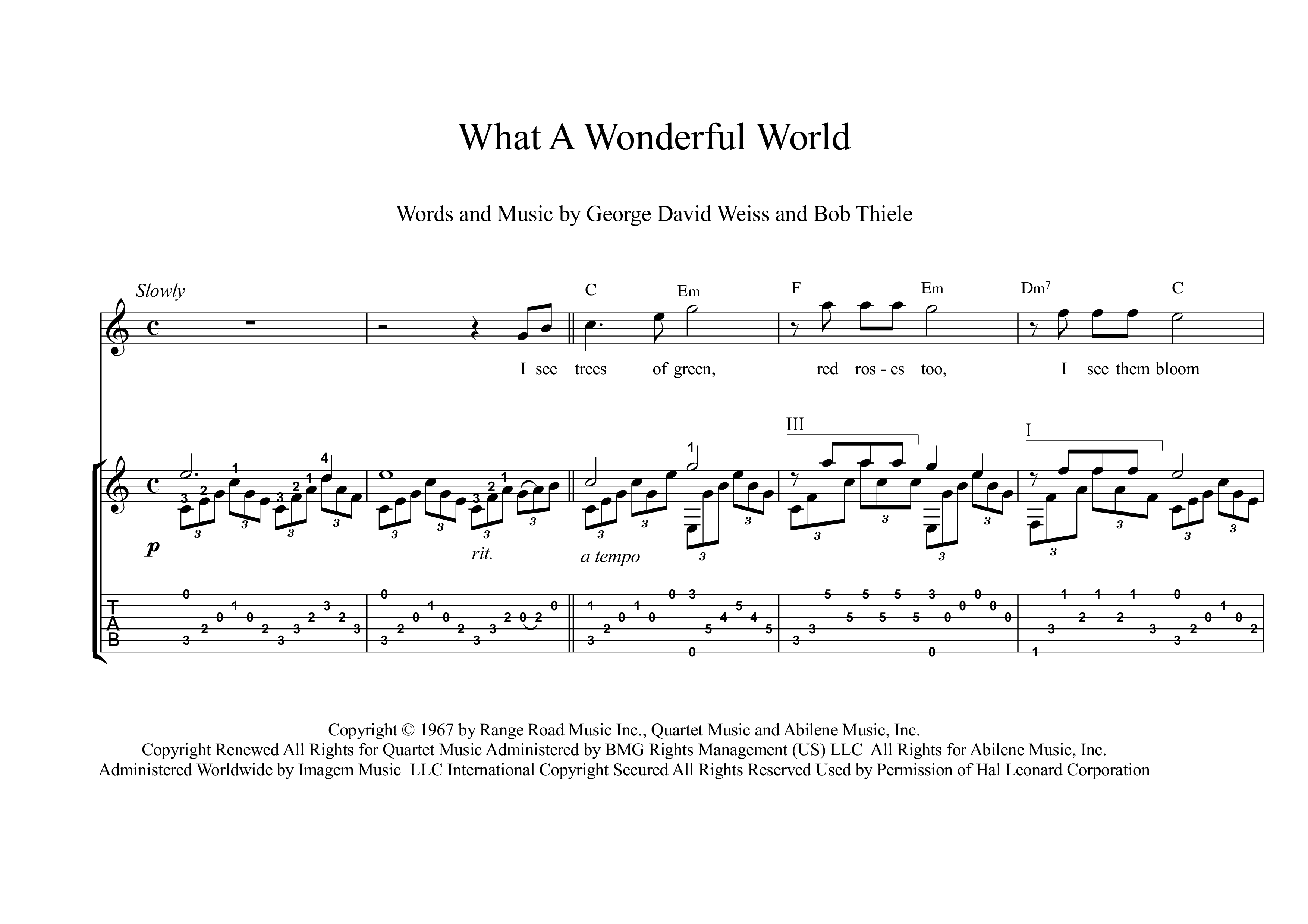 What A Wonderful World guitar score download | Classical guitar sheet  music, Classical guitar, Guitar sheet music
