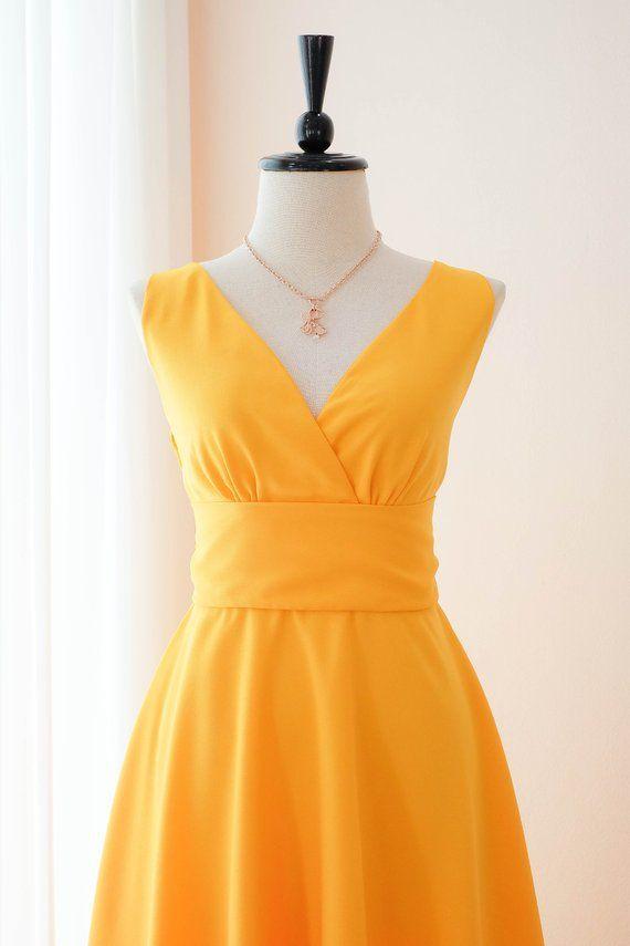 734c46083b7d Gold Yellow bridesmaid dresses Yellow Mid length dress Solid ...