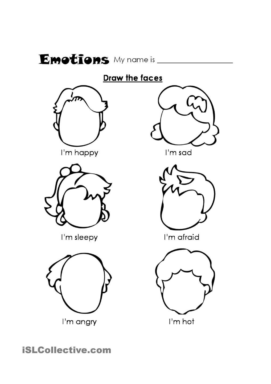 Teach Feelings Kindergarten Coloring Pages Preschool Worksheets Esl kindergarten coloring worksheets