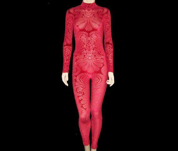 5cc478cab3fed Bright Red Sheer Stretch Mesh with Red Burnout Velvet Unitard Catsuit  Bodysuit Jumpsuit Medium Unise