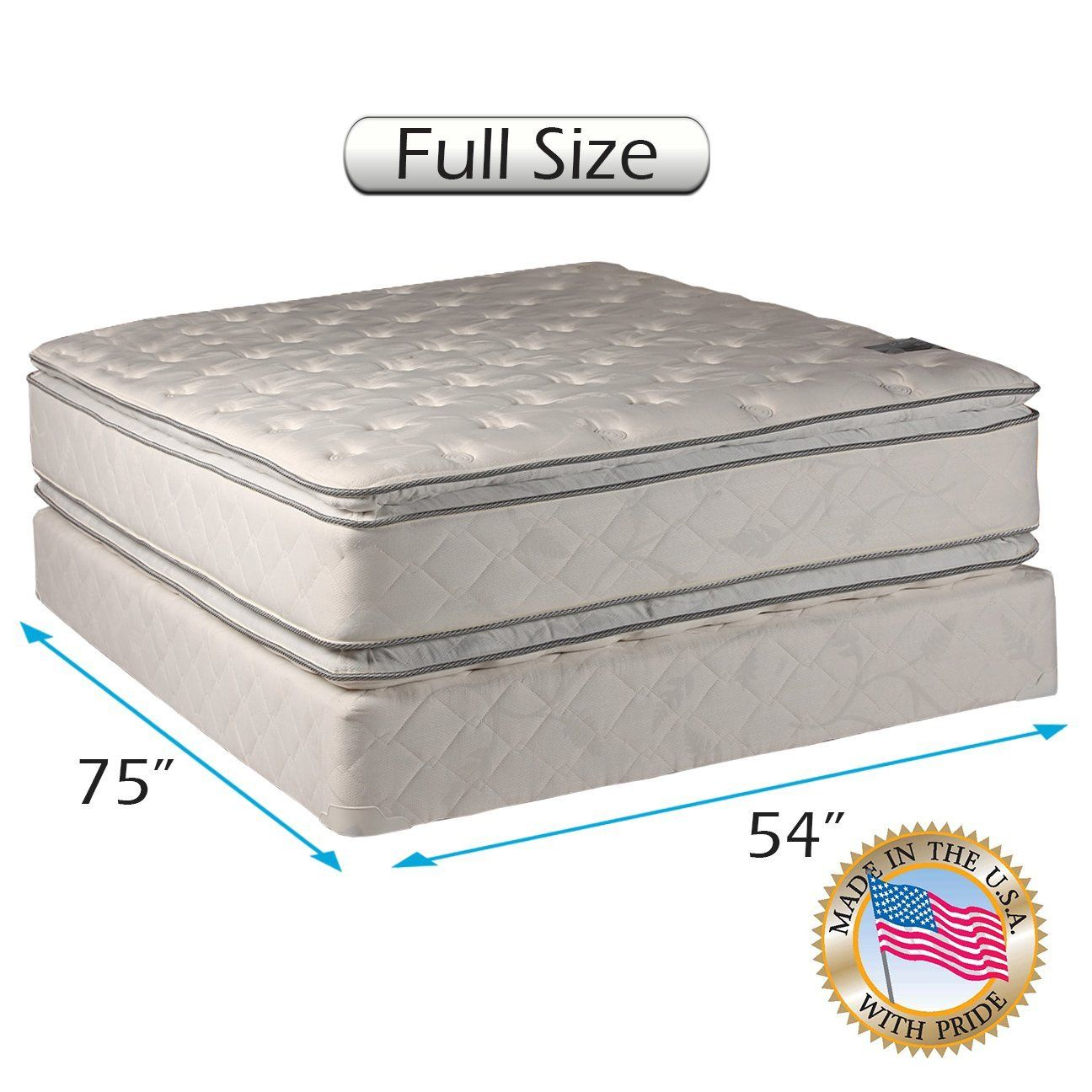 princess dream plush pillow top full size mattress and box spring