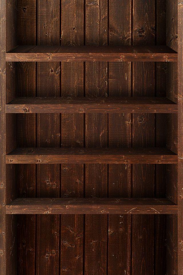 Dark Wood Shelves iPhone Wallpaper Captions/backgrounds