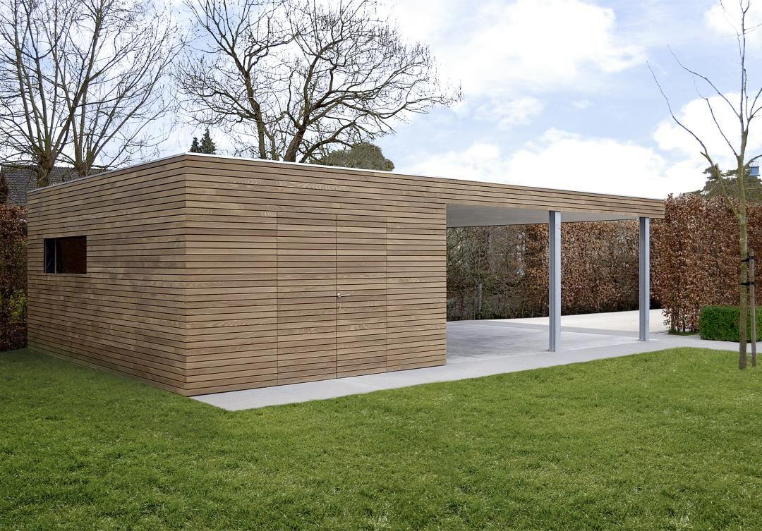 Un carport en bois moderne de la ligne pure de livinlodge est fonctionnel intemporel et - Maak pool container ...