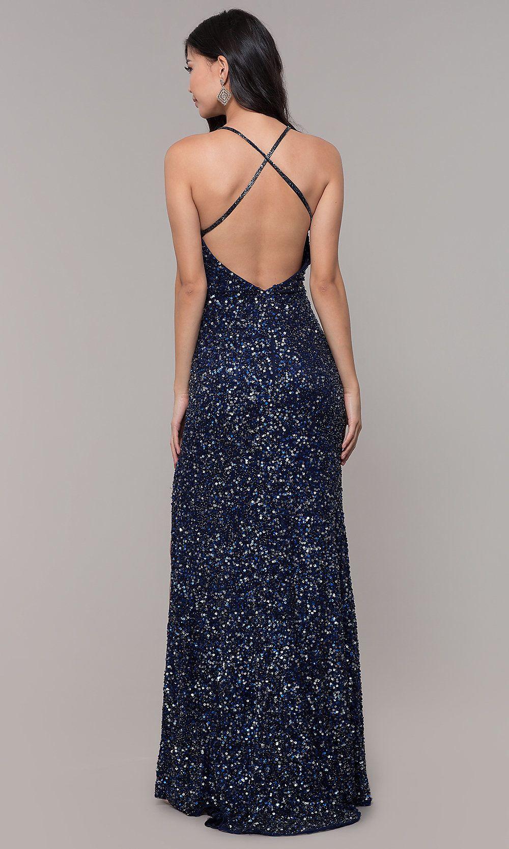 Long Sequin-Mesh Formal V-Neck Dress in 2019  ed633be20